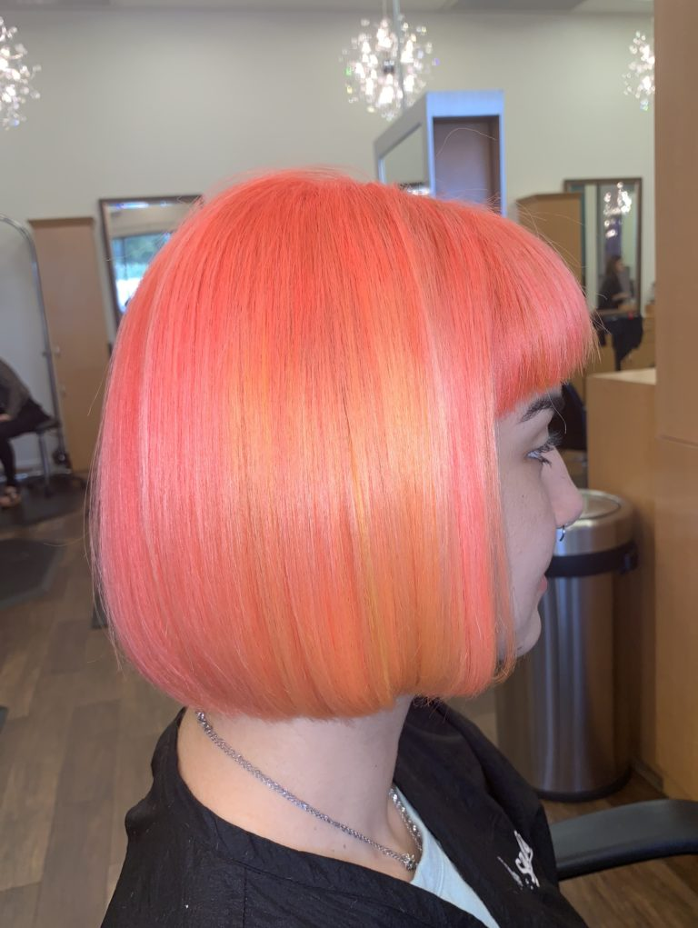 electric hair color, neon hair color, tangerine hair, coral hair color