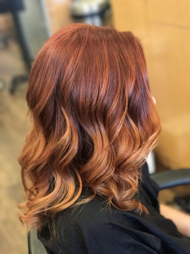 balayge red hair